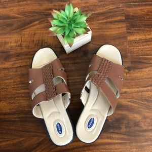 Dr Scholl's Brown Leather Woman Sandals Size 7